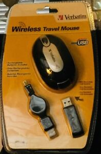 Verbatim Wireless Store-Away Travel Mouse Rechargeable snap n receiver 95210 NIB