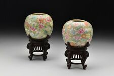 Chinese Hongxian Mark & Period Famille Rose Porcelain Millefiori Rose Bowls