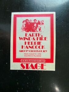 Earth Wind And Fire Herbie Hancock Stage Pass 1974 NM LA Palladium Original
