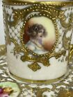 Hd Ptd Portrait NIPPON Demitasse Cup & Saucer Heavy Gold Encrusted Moriage