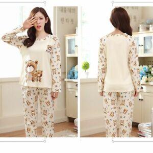 Women Cartoon Long Sleeve Tops + Pants Pajama Set Sleepwear Girls Homewear