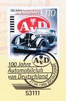 BRD 1999: Automobilclub 100 Jahre! Nr 2043 mit Bonner Ersttags-Sonderstempel! 1A