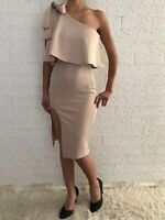 Women's One Shoulder Beige Bodycon Formal Wedding Cocktail Race Eve Midi Dress
