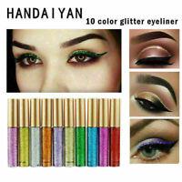 10 Farben Wasserdichter Schimmer Lidschatten Glitzer Liquid Eyeliner Metall