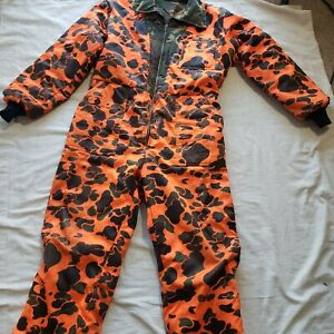 American Field Weather Shield Reversible Coveralls Size Large Hunting Orange