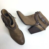 DOLce VITA Brown Leather Buckle Strap Ankle Heel Boots Booties 7.5 Side zip