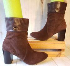 e0ce9d44289 TOMMY HILFIGER Suede Chocolate Ankle Calf Boots Platform Boots Heel Women  Sz 7M