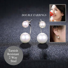925 Sterling Silver Elegant Front Back Simulated Double Sided Pearl Stud Earring