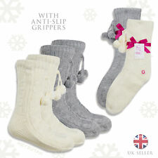 Ladies Lounge Cosy Chunky Knit Slipper Socks With Anti-Slip Grippers Size 4-8