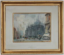 """CIRANO CASTELFRANCHI PEINTURE """" LA CATHEDRALE DE MILAN"""" 1959"""