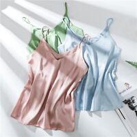 Womens V Neck Silk Satin Camisole Plain Strappy Vest Sleeveless Blouse Tank Tops