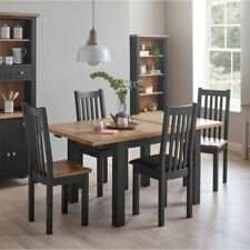 Brockville Oak Compact Black Grey Painted Furniture Dining Table with Chairs Set