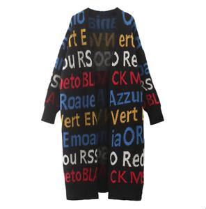 Women Letters Printed Woolen Knitted Sweater Coat Loose Warm Long Cardigan Zha19