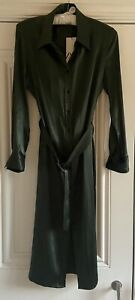 ZARA Green Satin Effect Midi Shirt Dress With Belt ( Size L)