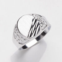 Men's Ring Solid Sterling Silver Platinum Plated Gents Signet   Sizes T - Y