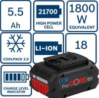 Bosch Professional Pro CORE 18 V 5.5 Ah Akku pack (1 600 A02 149) Battery 1800 W