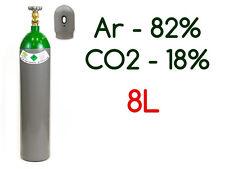 NEW PLEINE BOUTEILLE CYLINDRE DE GAZ ARGON 82% CO2 18% 8 LITRES 200 BAR