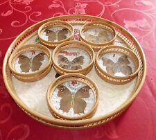 Dessous de verres et & Plateau Papillons Vintage.