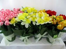 Lot Of 10 Spring Inspirations Potted Silk Flowers Daffodils Tulips New With Tags