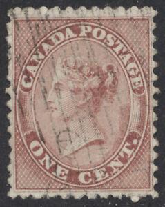 Canada #14b 1c Victoria, P11.75 Deep Rose, VF Light Cancel, Fibrous paper