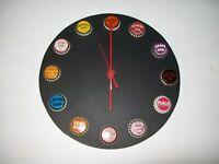WALL CLOCK with SODA BOTTLE CAPS / BOTTLE CAP CLOCK / SODA POP CLOCK