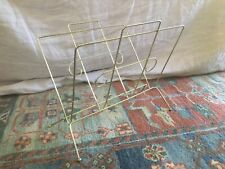 Vintage Mid Century Modern Gold Tone Metal Record Magazine Rack Holder