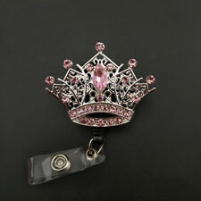 Silver Tone Alloy ID Badge Holder Reel Pink Crystal Crown  Badge Reel