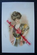 Victorian Woman Lady vintage postcard, L & E. Printed in Germany