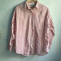 Vintage Red and White Striped 100% Cotton Pajama Shirt Button Down Size Small