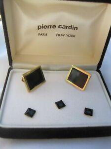 Pierre Cardin Cufflinks & Three Studs, Rectangular, Gold-Tone and Onyx, NOS