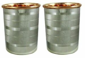 Steel Glass Drink ware Accessories Pure Copper & Stainless Cup,Set of 2 300 ml