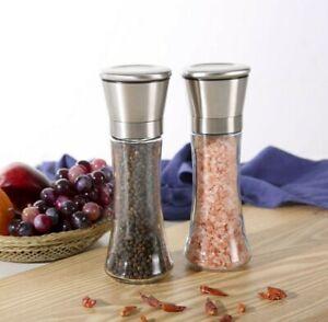 2 x STAINLESS STEEL CLEAR GLASS SALT & PEPPER MILL GRINDER HERB SPICE SHAKER SET