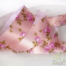 """1""""25mm Pink Elegant Flower Pattern Satin RIBBON 5 Yards Hair Bow Sewing Craft"""