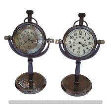 Brass Antique Desktop Desk Clock Vintage Nautical Desk Clock Decor For Gift 2pc