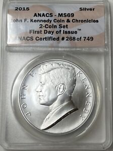 2015 John F. Kennedy Silver Medal - ANACS MS69 - Coin and Chronicles Set!