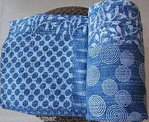 Indian Handmade Quilt Vintage Kantha Bedspread Throw Cotton Blanket Gudri*Queen*