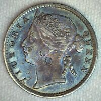 1895 Straits Settlements 10c Silver Coin British Crown Colony Rainbow Toned