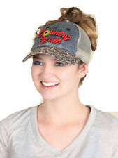 Country Yall Ponytail Bun Vented Trucker Cap Hat Red Black Gray Cheetah Leopard