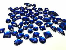 50 ROYAL BLUE Faceted Acrylic Sew On, Stick on DIAMANTE Crystal Rhinestone GEMS