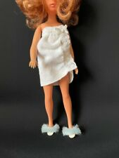 """Whit Barbie bath towel wrap + Pedigree Sindy upcycled slipper shoes fit 12"""" doll"""