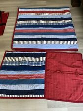 Pottery Barn Kid Twin Quilt Coverlet Bedspread 2 Shams Red Blue Ticking