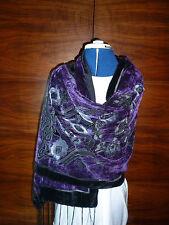 Velvet devore scarf/shawl  Purple/grey/black floral    NEW