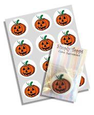 12 Halloween Pumpkin Cupcake Decoration Edible Cake Toppers Pre Cut 40mm