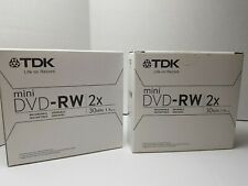 TDK  8cm Mini 2x 1.4GB DVD-RW 30Min Single sided Camcorder x2 boxes of 5 disks