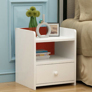 Morden Chic White Wood Bedside Table Night Cabinets With 1 Storage Drawers Unit