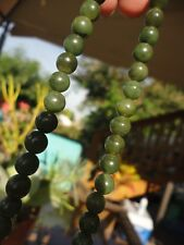 Antique Vintage Deco - Chinese Carved Green Nephrite Jade Bead Necklace - Estate
