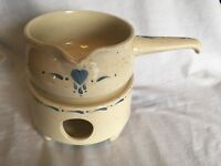 2 Pc. Pot with Handle and Warmer Speckled Pottery Blue Heart