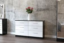 Lynx High Gloss White and Black 6 Drawer midi chest wide new