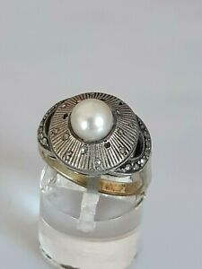Theodor Fahrner, traumhafter antiker Ring Silber 925, Ringschiene Gold 333, 17mm