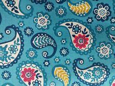 Makower Papillon Paisley Turquoise 100% cotton fabric, half metre, free p&p,